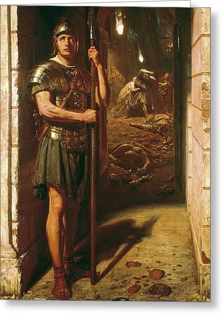 Destruction Greeting Cards - Faithful unto Death Greeting Card by Sir Edward John Poynter