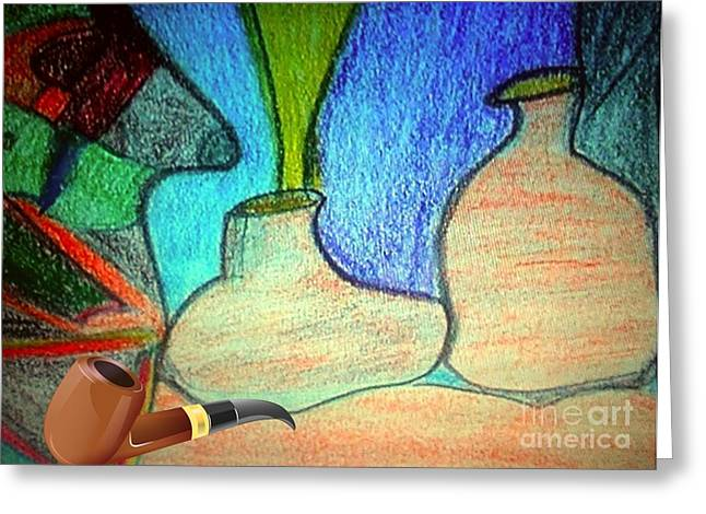Calling Mixed Media Greeting Cards - Fake Pipe Greeting Card by Fania Simon