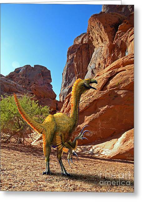 Dinosaurs Greeting Cards - Falcarius Among Cliffs Greeting Card by Frank Wilson