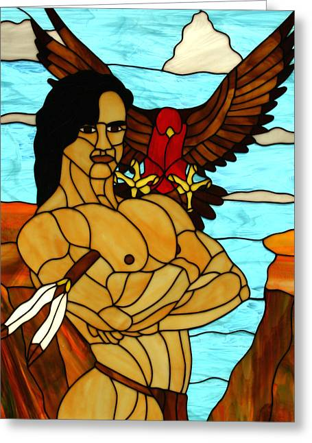 Male Glass Art Greeting Cards - Falcon Brave Greeting Card by Jeff Boss
