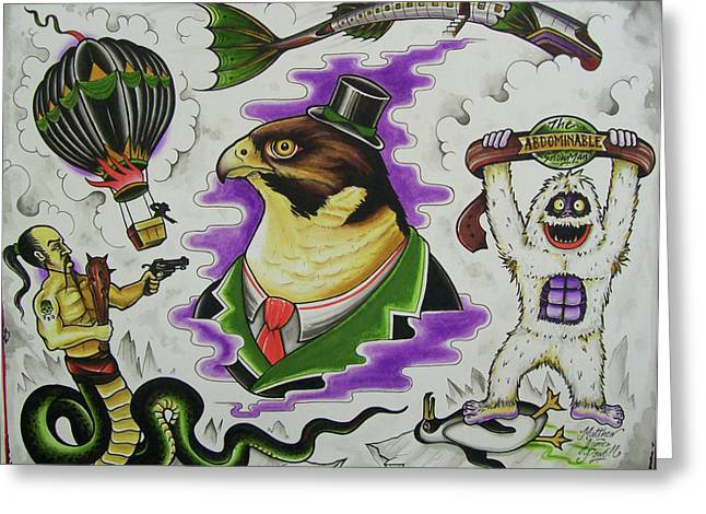 Tattoo Flash Paintings Greeting Cards - Falcon Flash Greeting Card by Matthew Powell