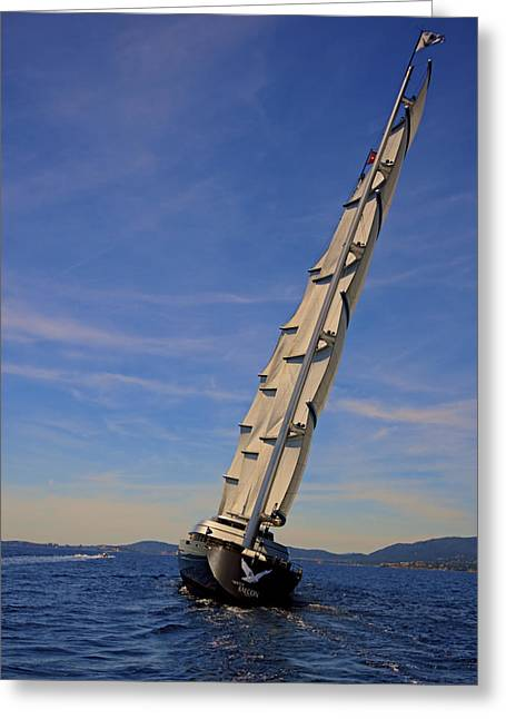 After Greeting Cards - Falcon Great Sail Yacht Greeting Card by Gennadiy Golovskoy