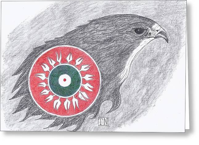 Falcon Spirit With Apache Design Greeting Card by Tony  Nelson