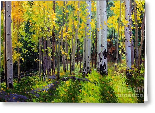Original Oil Paintings Greeting Cards - Fall Aspen Forest Greeting Card by Gary Kim