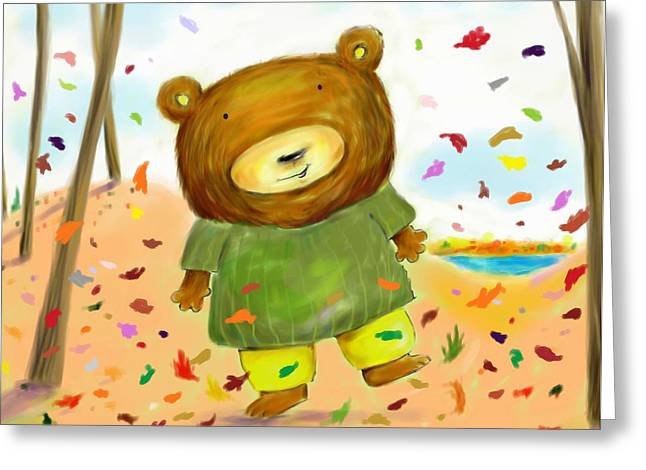 Fall Bear Greeting Card by Scott Nelson
