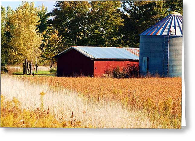 Grain Bin Greeting Cards - Fall Bin Greeting Card by Jame Hayes
