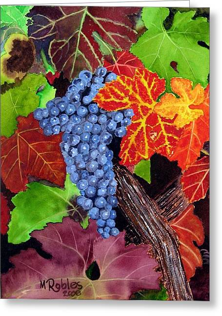 Grape Leaf Greeting Cards - Fall Cabernet Sauvignon Grapes Greeting Card by Mike Robles