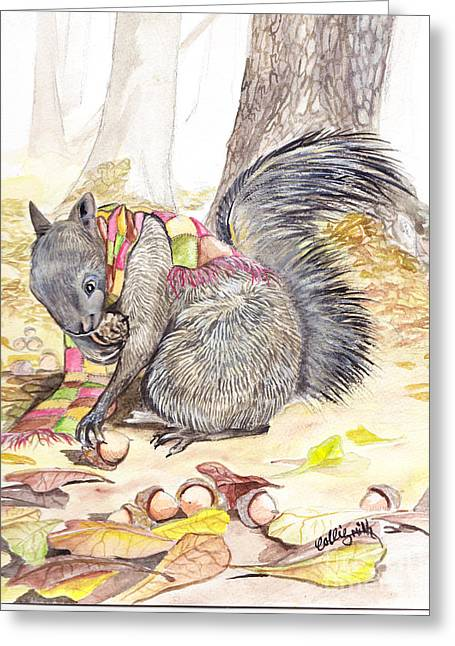 Fox Squirrel Paintings Greeting Cards - Fall  Greeting Card by Callie Smith