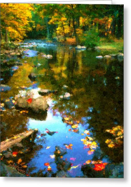 Simulation Greeting Cards - Fall Color At The River Greeting Card by Suni Roveto