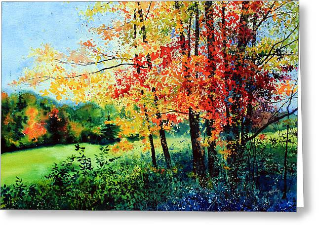 Autumn Landscape Paintings Greeting Cards - Fall Color Greeting Card by Hanne Lore Koehler