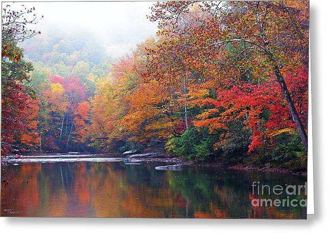 Rushing Stream Greeting Cards - Fall Color Williams River Mirror Image Greeting Card by Thomas R Fletcher