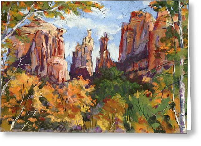 Cathedral Rock Pastels Greeting Cards - Fall colors at Cathedral Rock Greeting Card by Patricia Rose Ford
