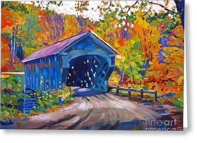 Covered Bridge Greeting Cards - Fall Comes to Downer Vermont Greeting Card by David Lloyd Glover