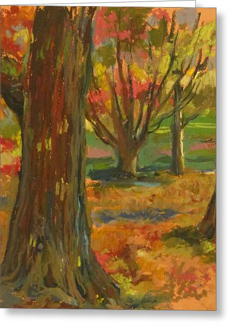 Prospects Drawings Greeting Cards - Fall Comes to Prospect Park Greeting Card by Linda Berkowitz