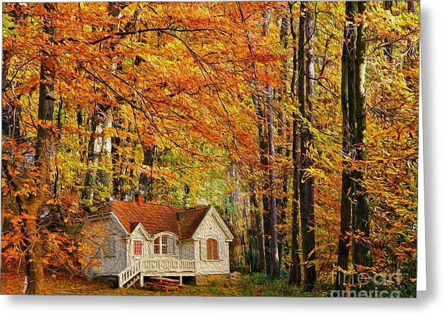 Reception Greeting Cards - Fall Cottage Greeting Card by Cheryl Young