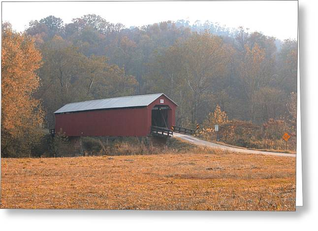 Myeress Greeting Cards - Fall Covered Bridge Greeting Card by Joe Myeress