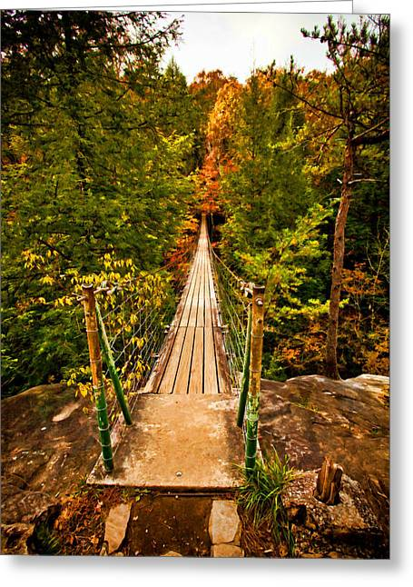 Tennessee River Greeting Cards - Fall Creek Falls Bridge Greeting Card by Paul Bartoszek