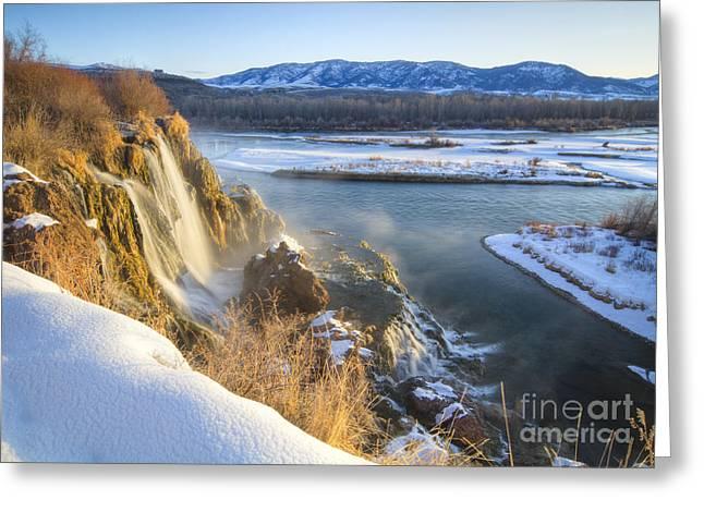 Fall Creek Greeting Cards - Fall Creek Winter Greeting Card by Idaho Scenic Images Linda Lantzy
