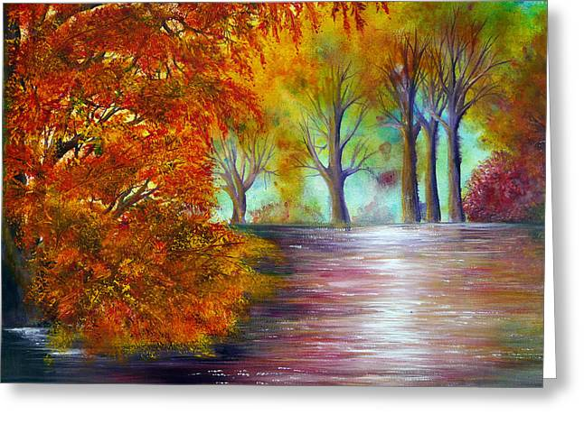 Kinkade Greeting Cards - Fall fire Greeting Card by Ann Marie Bone