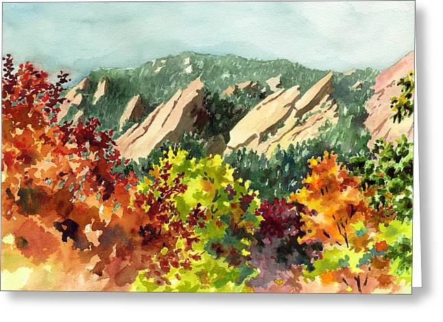 Colorado Mountains Greeting Cards - Fall Flatirons Greeting Card by Anne Gifford
