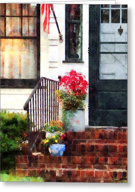 American Flags Greeting Cards - Fall Flowers in Fancy Pots Greeting Card by Susan Savad