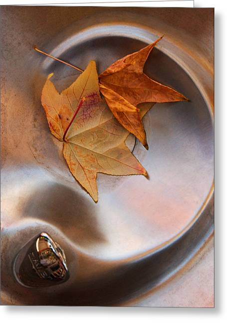 Abstract Water And Fall Leaves Greeting Cards - Fall Fountain Greeting Card by Scott Sawyer