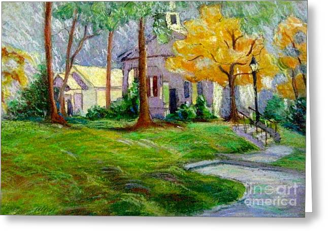 Fall Grass Pastels Greeting Cards - Fall Glow on Roswell Church Greeting Card by Gretchen Allen