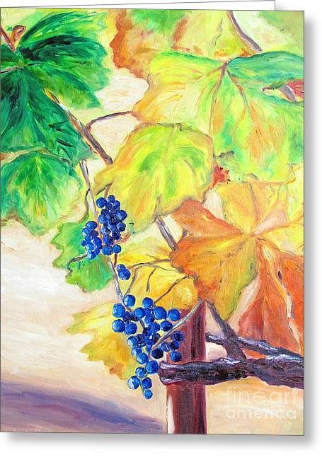 Grapevine Leaf Paintings Greeting Cards - Fall Grapes Greeting Card by Barbara Anna Knauf