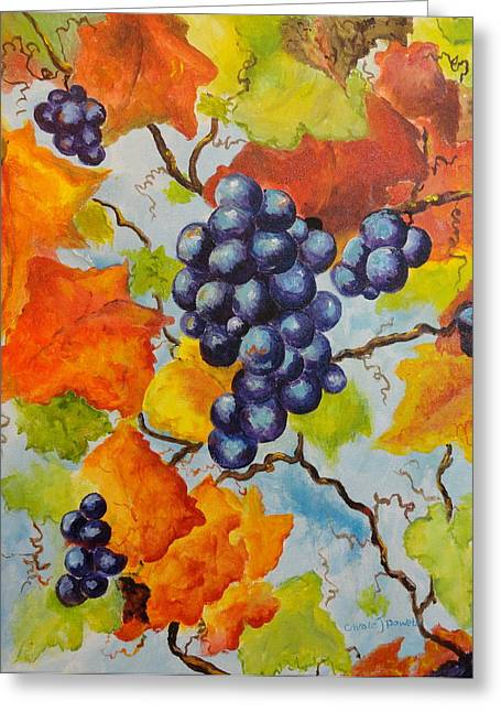 Concord Grapes Paintings Greeting Cards - Fall Grapes Greeting Card by Carole Powell