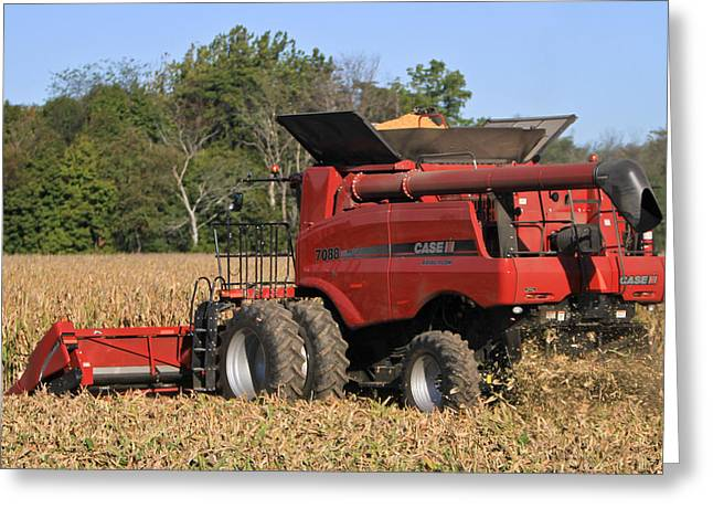 Corn Picker Greeting Cards - Fall Harvest Greeting Card by Jim Ferrier