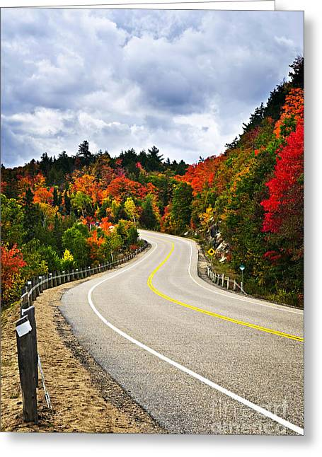 Mountain Road Greeting Cards - Fall highway Greeting Card by Elena Elisseeva