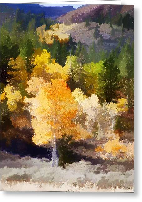 Brown Leaf Greeting Cards - Fall in the Sierra IV Greeting Card by Carol Leigh