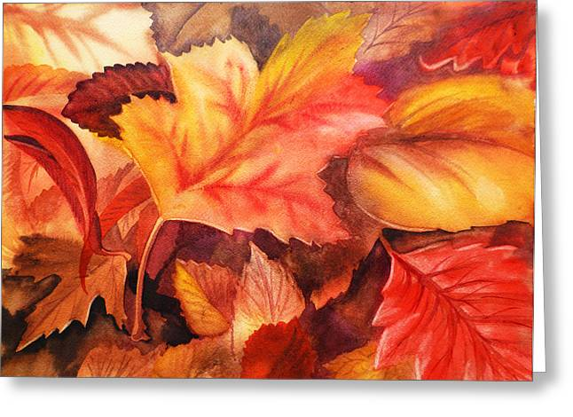 Bestsellers Greeting Cards - Fall Leaves Greeting Card by Irina Sztukowski