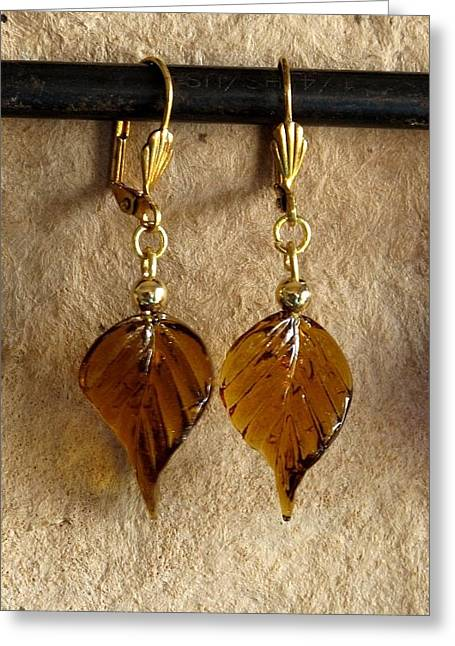 Gold Earrings Jewelry Greeting Cards - Fall Leaves Greeting Card by Jan Brieger-Scranton