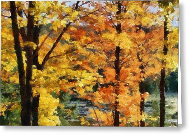 Yellow Leaves Pastels Greeting Cards - Fall Leaves Greeting Card by Russ Harris