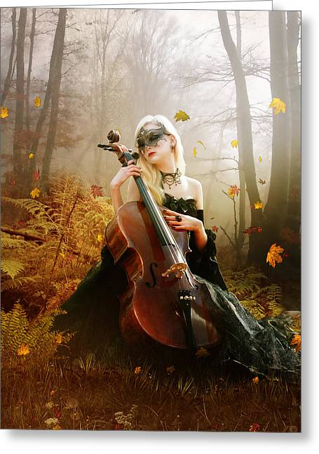 Fall Digital Art Greeting Cards - Fall Melody Greeting Card by Karen K
