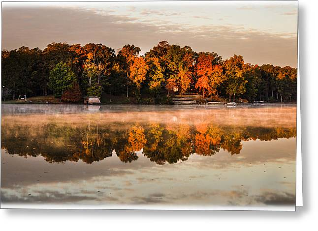Tree Leaf On Water Greeting Cards - Fall Morning on the Lake Greeting Card by Barry Jones