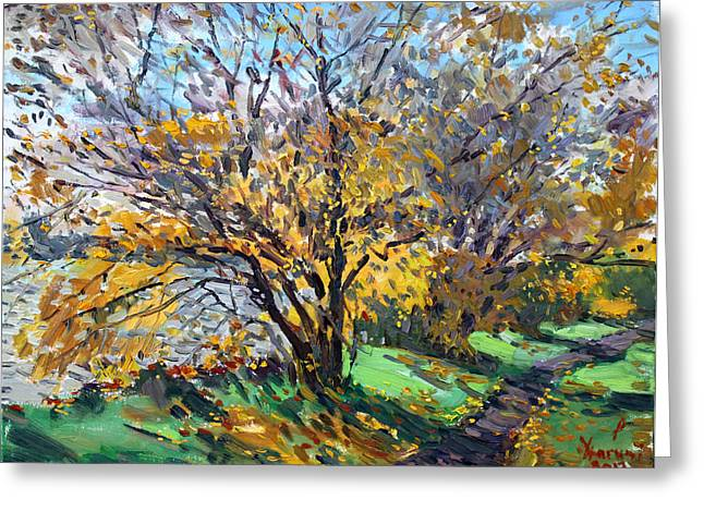Autumn Landscape Paintings Greeting Cards - Fall of Leaves Greeting Card by Ylli Haruni