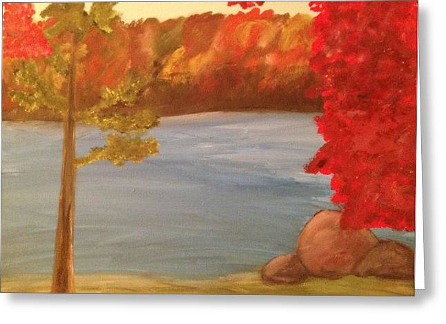 Fall On River Greeting Card by Paula Brown