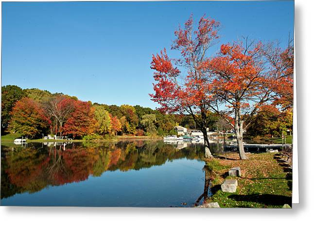 Southwick Greeting Cards - Fall On The Lake Greeting Card by Warren Carrington
