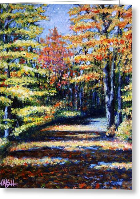 Yellow Leaves Greeting Cards - Fall Path Greeting Card by Paul Walsh
