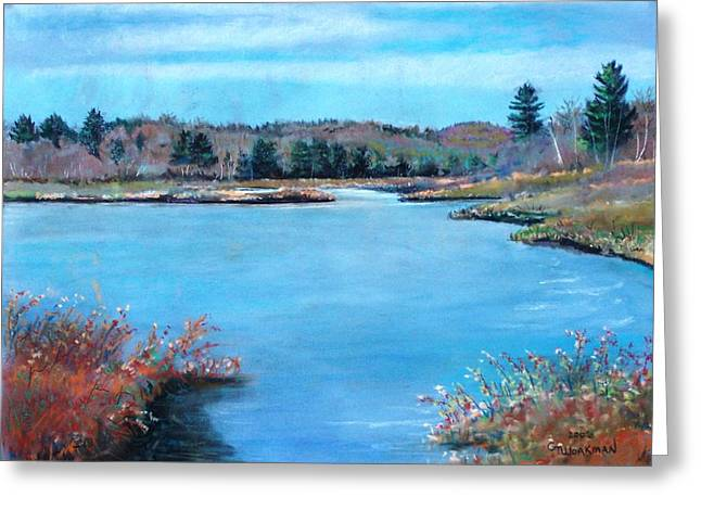 Maine Landscape Pastels Greeting Cards - Fall Pond Greeting Card by Geoffrey Workman
