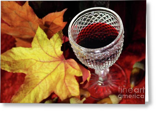 Fall Red Wine Greeting Card by Carlos Caetano