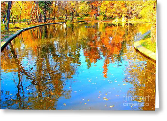 Reflections Of Sky In Water Greeting Cards - Fall Reflections Greeting Card by Ana Maria Edulescu
