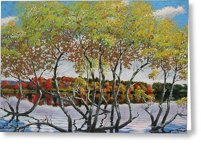 Pallet Knife Greeting Cards - Fall Reflections Greeting Card by Barry Close
