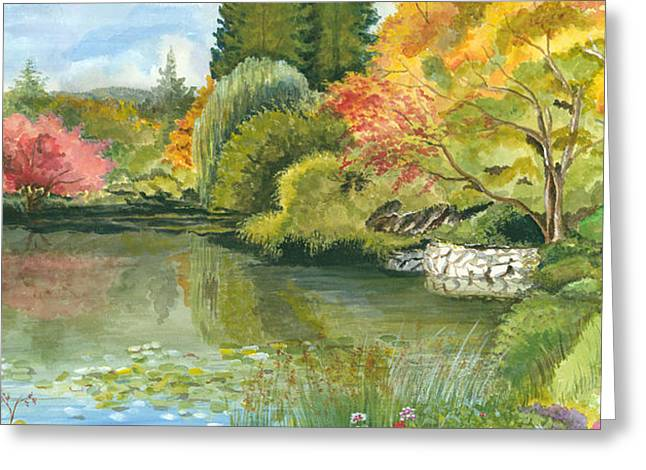 Best Sellers -  - Reflection In Water Greeting Cards - Fall Reflections Butchart Gardens Greeting Card by Vidyut Singhal