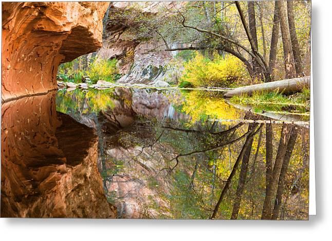 Oak Creek Canyon Greeting Cards - Fall Reflections Greeting Card by Carl Amoth