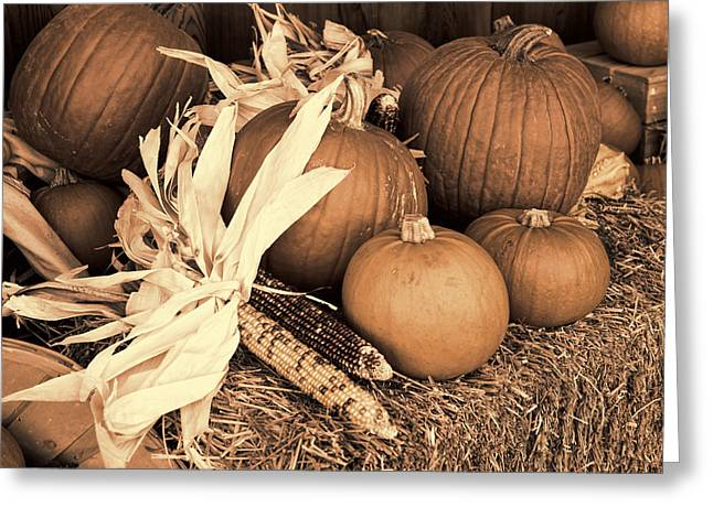 Corn Pyrography Greeting Cards - Fall Season Display - Sepia Greeting Card by Linda Phelps