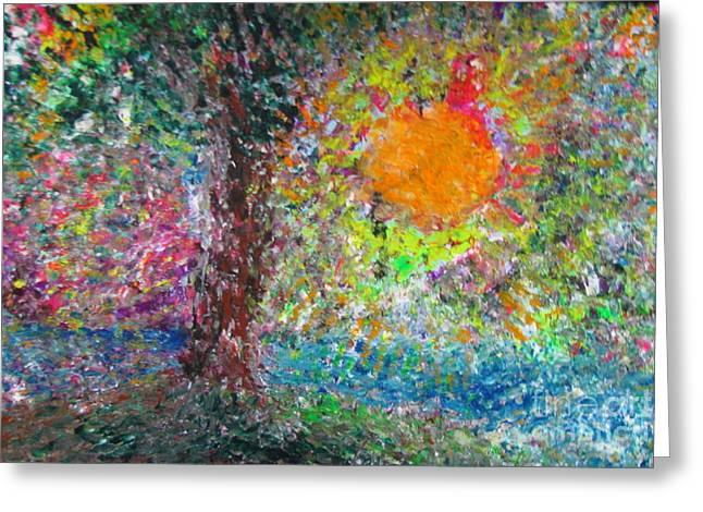 Fall Sun Greeting Card by Jacqueline Athmann