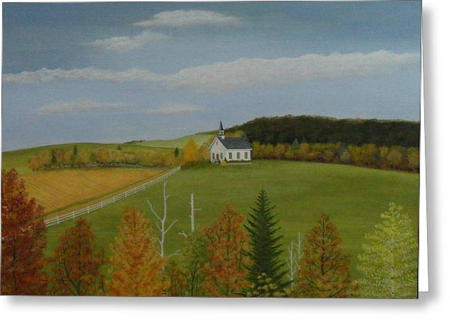 White Pickett Fences Greeting Cards - Fall Sunshine Greeting Card by Dale Lewis